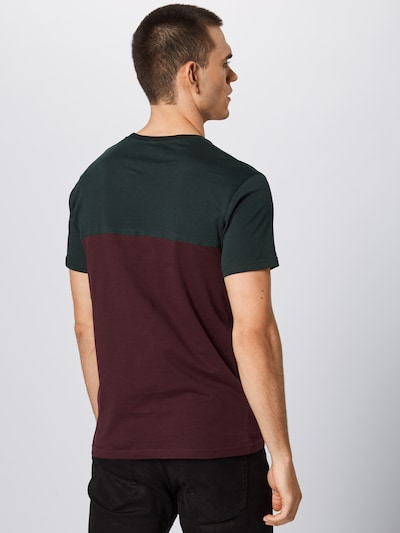 Iriedaily T-Shirt in grün / aubergine / dunkelrot: Rückansicht