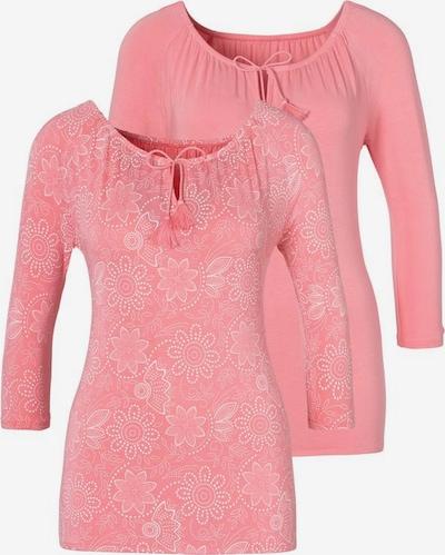 LASCANA Langarmshirt in rosa / weiß, Produktansicht