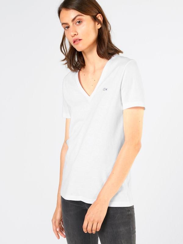 Weiß Lacoste T Label shirt applikation Mit vXrvAw