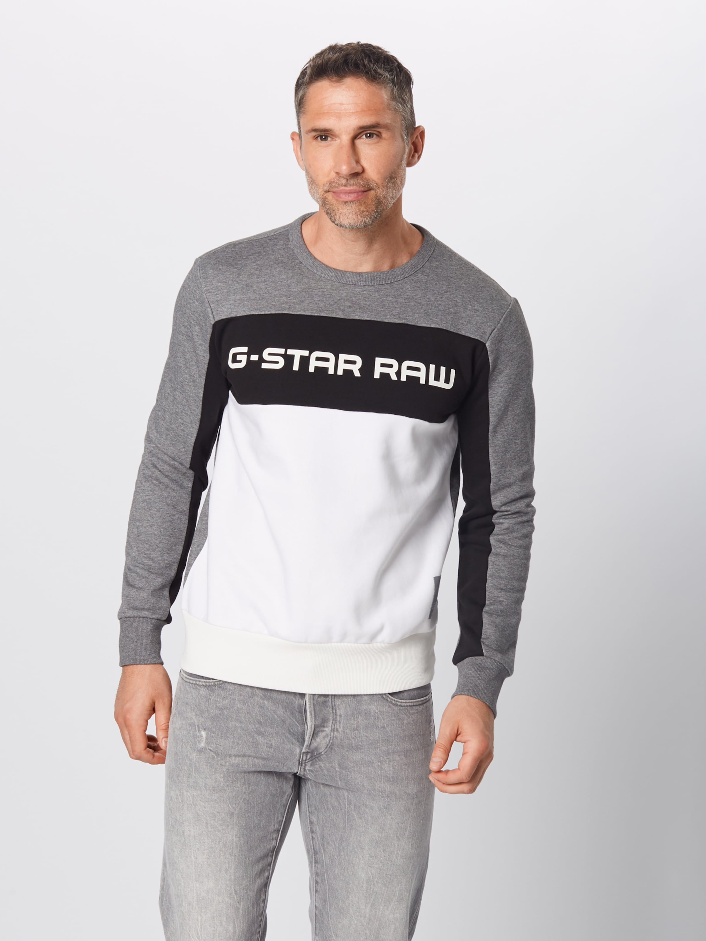Sweat Block' 'swando Blanc Raw New shirt En star ChinéNoir G Gris jLRSc534Aq