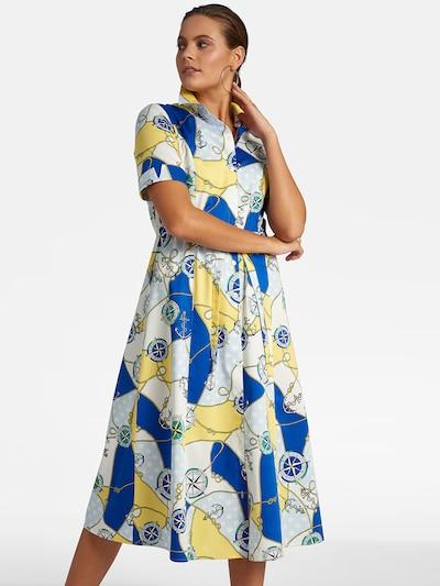 Basler Kleid in blau / gelb / weiß: Frontalansicht