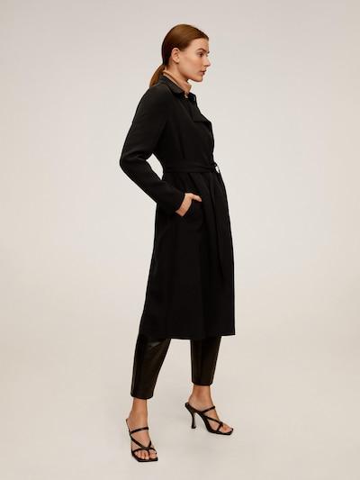 MANGO Manteau mi-saison 'DINGDONG' en noir, Vue avec modèle