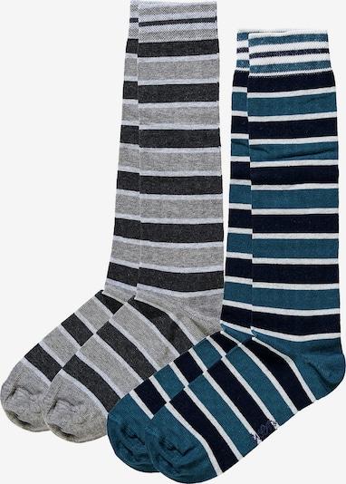 EWERS Kniestrümpfe 'Ringel' in dunkelblau / graumeliert / weißmeliert, Produktansicht