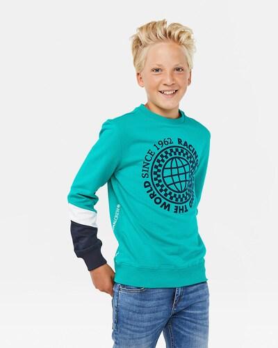 WE Fashion Sweatshirt in türkis / nachtblau / weiß: Frontalansicht