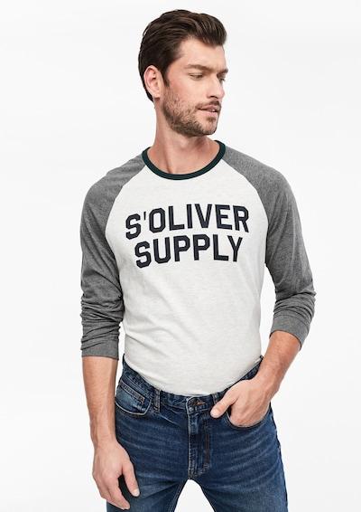 s.Oliver Shirt in dunkelgrau / weißmeliert: Frontalansicht