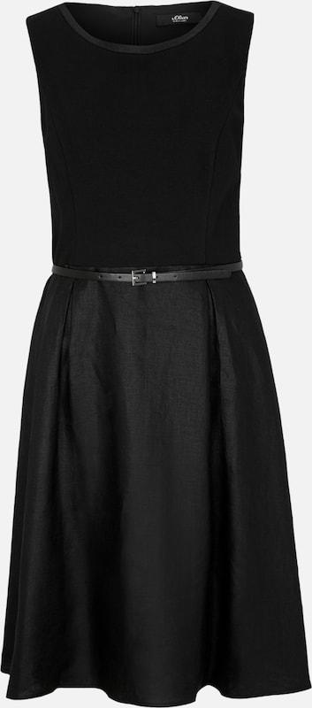 S.Oliver schwarz LABEL Leinen-Kleid in schwarz  Große Preissenkung
