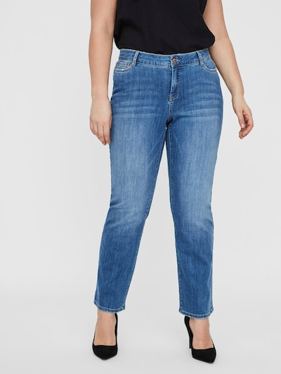 Junarose Normal Waist Straight Fit Jeans in blau, Modelansicht