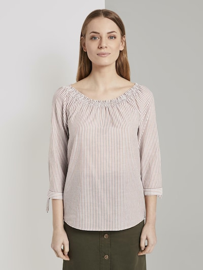 TOM TAILOR Carmen-Blusen in braun / weiß, Modelansicht