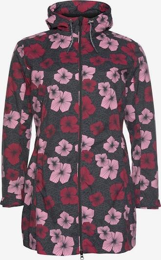 Maier Sports Regenjacke 'Flowercoat' in pink / rot / schwarz, Produktansicht