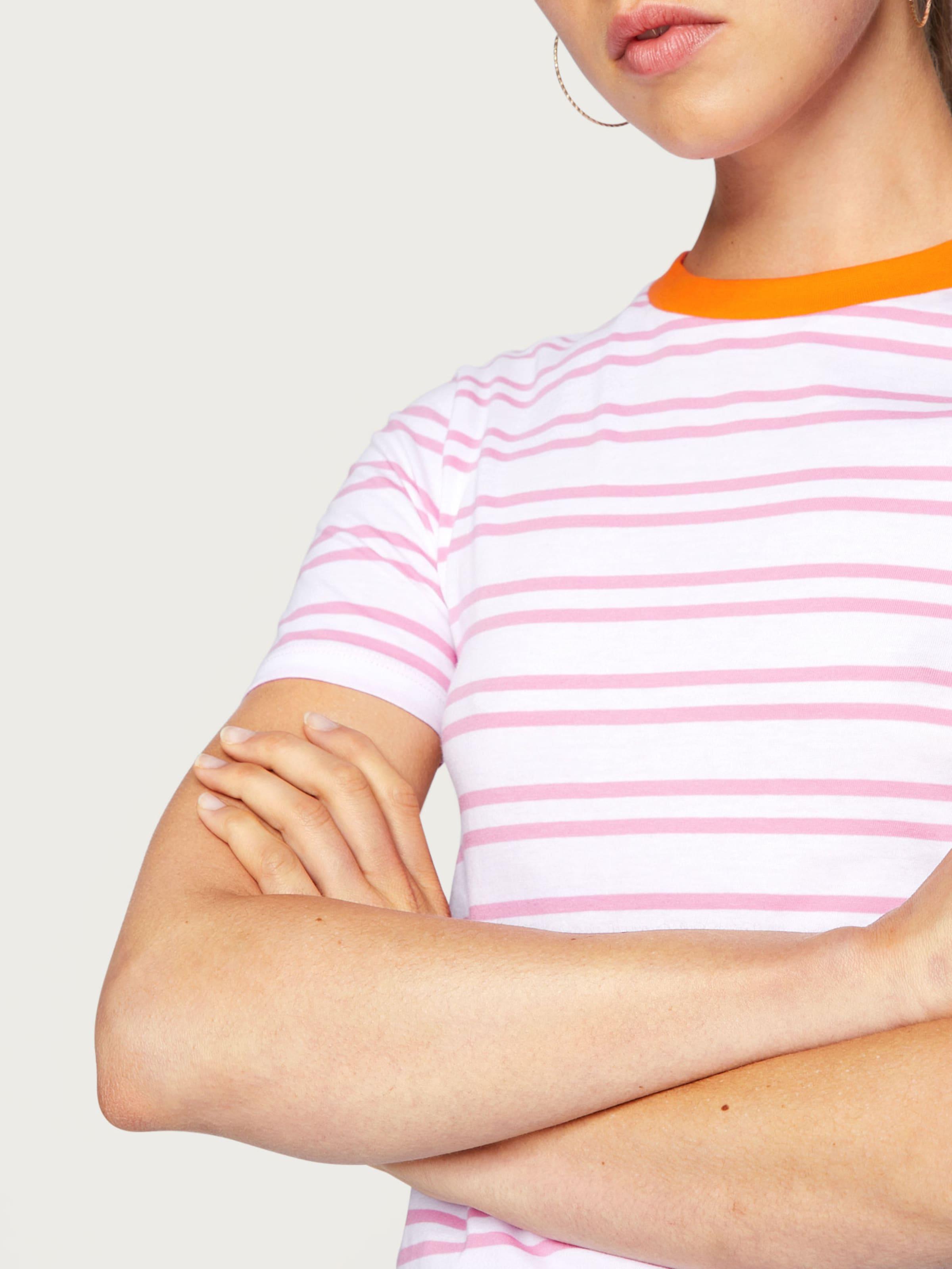 Edited In shirt OrangePink Weiß T 'leila' rCoedxB