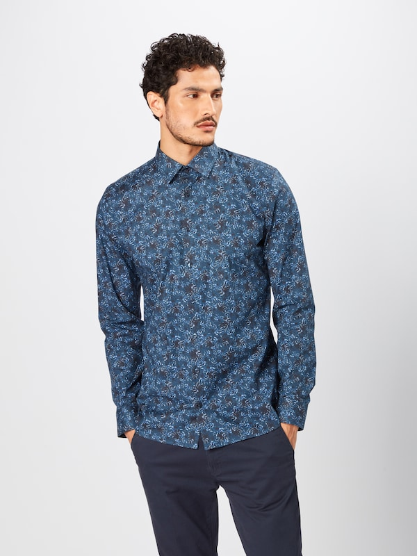 OLYMP Hemd 'No. 6 Print Floral' in navy: Frontalansicht