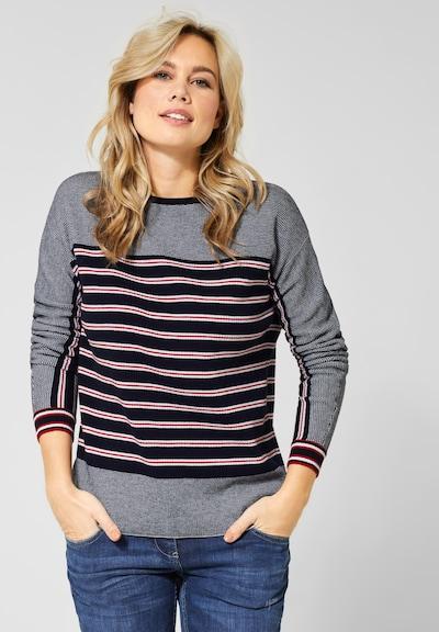 CECIL Pullover in nachtblau / grau / rot / weiß, Modelansicht