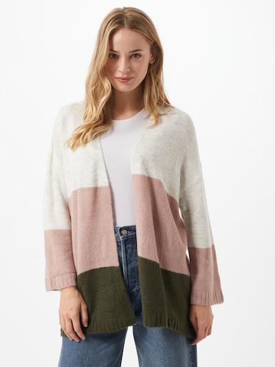 JACQUELINE de YONG Strickjacke 'Elanora' in grau / dunkelgrün / rosa, Modelansicht