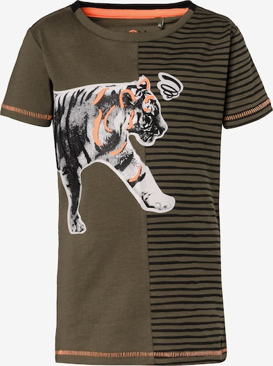 LEMON BERET T-Shirt in dunkelgrün / koralle / weiß, Produktansicht