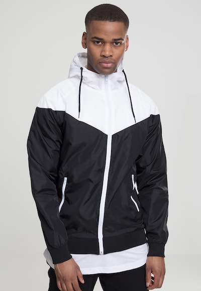 Urban Classics Windrunner 'Arrow' in schwarz / weiß: Frontalansicht