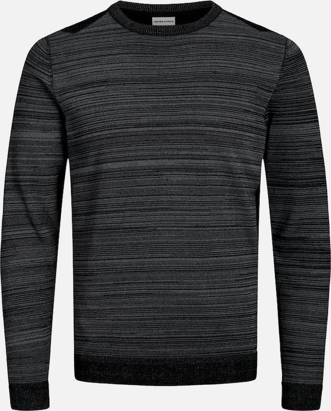 JACK & JONES Strickpullover in anthrazit / schwarz: Frontalansicht