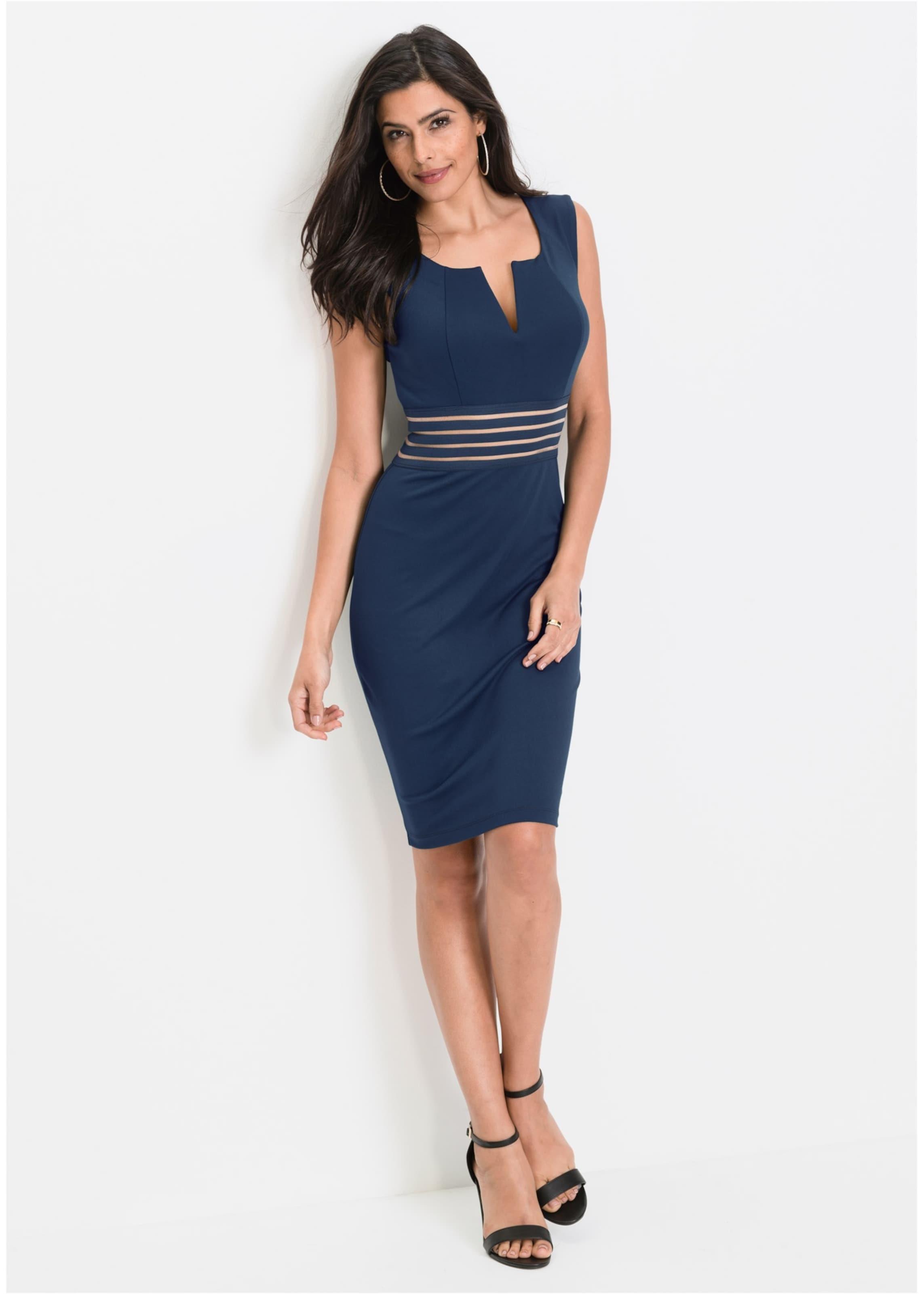 In Blau Mit Bonprix Netzeinsatz Transparentem Kleid ED9eH2WYI