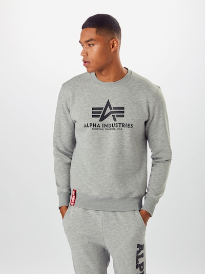 ALPHA INDUSTRIES Sweatshirt in hellgrau: Frontalansicht