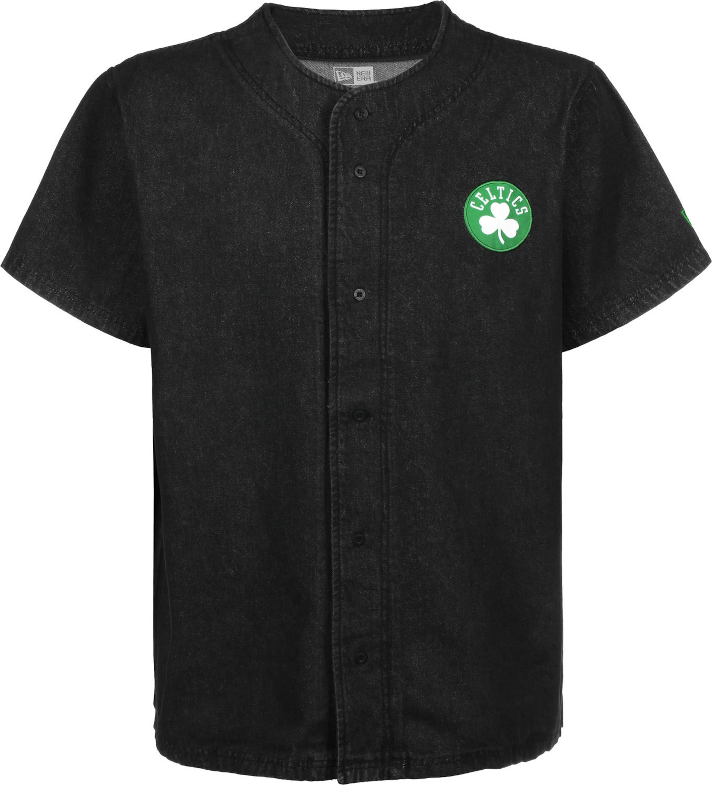 NEW ERA Kurzarmhemd ' NBA Denim Jersey Boston Celtics ' in schwarz Baumwolle KT75423011