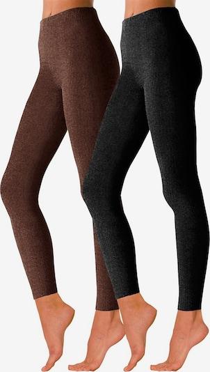 ROGO Basic Strickleggings im Doppelpack in braun / schwarz, Produktansicht