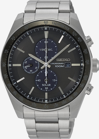 SEIKO Uhr 'Solar' in silbergrau / schwarz, Produktansicht