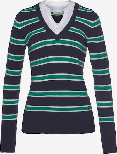 Tom Tailor Polo Team Pullover in navy / grün / weiß, Produktansicht