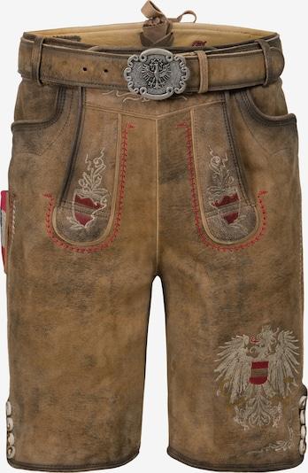 STOCKERPOINT Klederdracht broek 'Austria-Bua' in de kleur Beige / Bruin / Rood, Productweergave