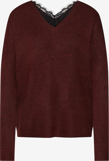 VERO MODA Pullover 'VMRANA LS V-NECK LACE BACK BLOUSE BOO BF' in weinrot, Produktansicht