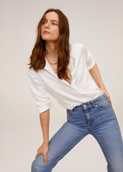 MANGO Hemd 'satini' in weiß, Modelansicht