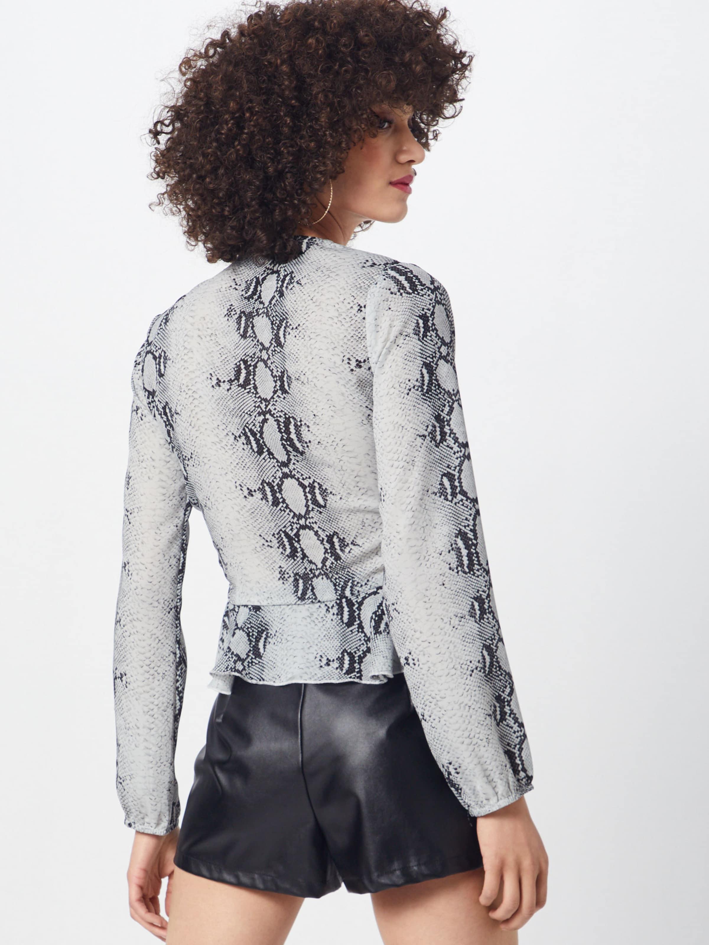 Print Missguided Bluse 'snake Hem BlauSchwarz Tie Ruffle Blouse' Front In 3lFuKJ1c5T