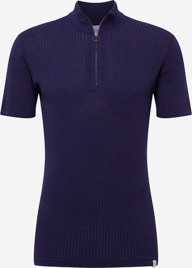 NOWADAYS Shirt 'knitted high neck zip polo' in de kleur Donkerblauw, Productweergave