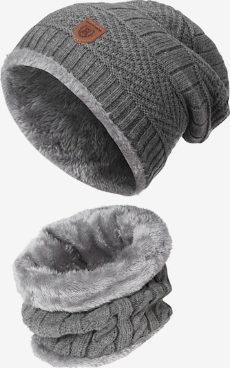 INDICODE JEANS Schal und Mütze ' Siracusa Hoddie ' in grau, Produktansicht