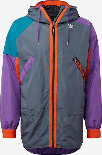 ADIDAS ORIGINALS Přechodná bunda - tmavě šedá / petrolejová / tmavě fialová / oranžová / černá, Produkt