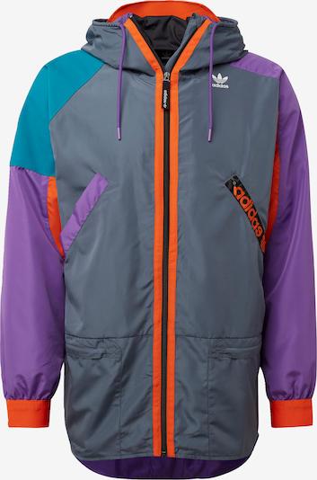 ADIDAS ORIGINALS Jacke in dunkelgrau / petrol / dunkellila / orange / schwarz, Produktansicht
