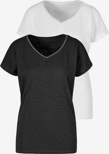 HIS JEANS Shirt in schwarz / weiß, Produktansicht