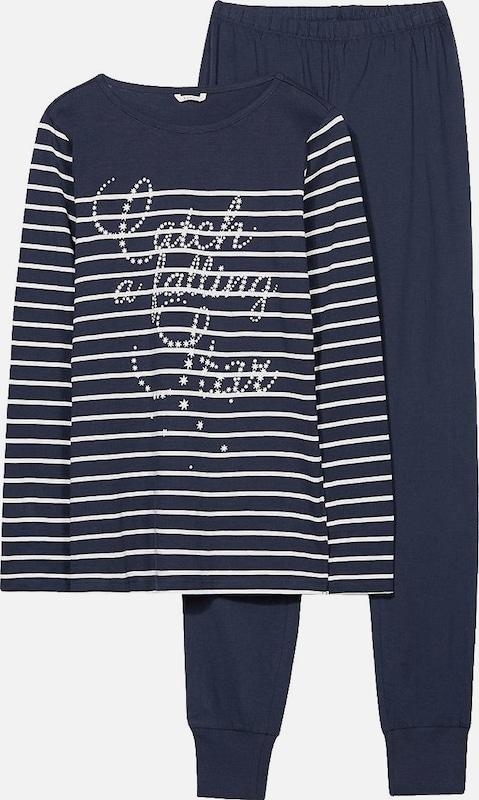 Esprit Bodywear Schlafanzug 'Eva Cas' in blau   weiß  Bequem und günstig