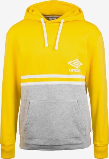 UMBRO Kapuzenpullover in gelb / graumeliert / weiß: Frontalansicht