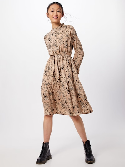 VERO MODA Kleid 'VMKATE LS BLK DRESS WVN' in beige / schwarz, Modelansicht