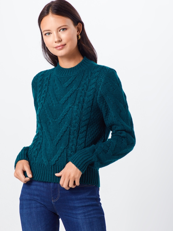 IVYREVEL Pullover 'CABLE KNIT' in dunkelgrün: Frontalansicht