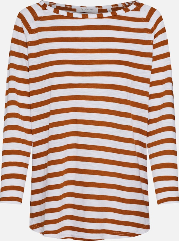 Rich & Royal Shirt 'Heavy Jersey Longsleeve striped' in de kleur Roestbruin, Productweergave