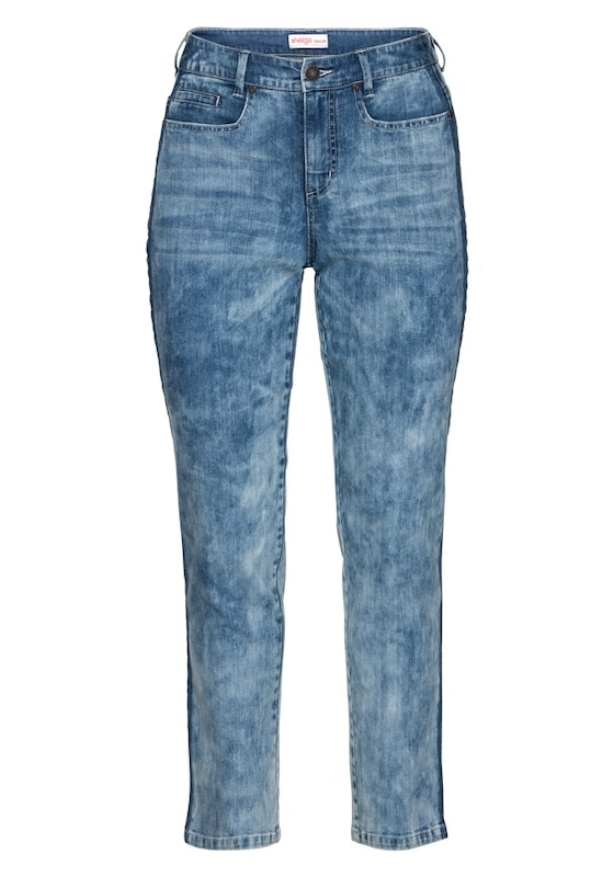 sheego denim stretch jeans im batik look in blau about you. Black Bedroom Furniture Sets. Home Design Ideas