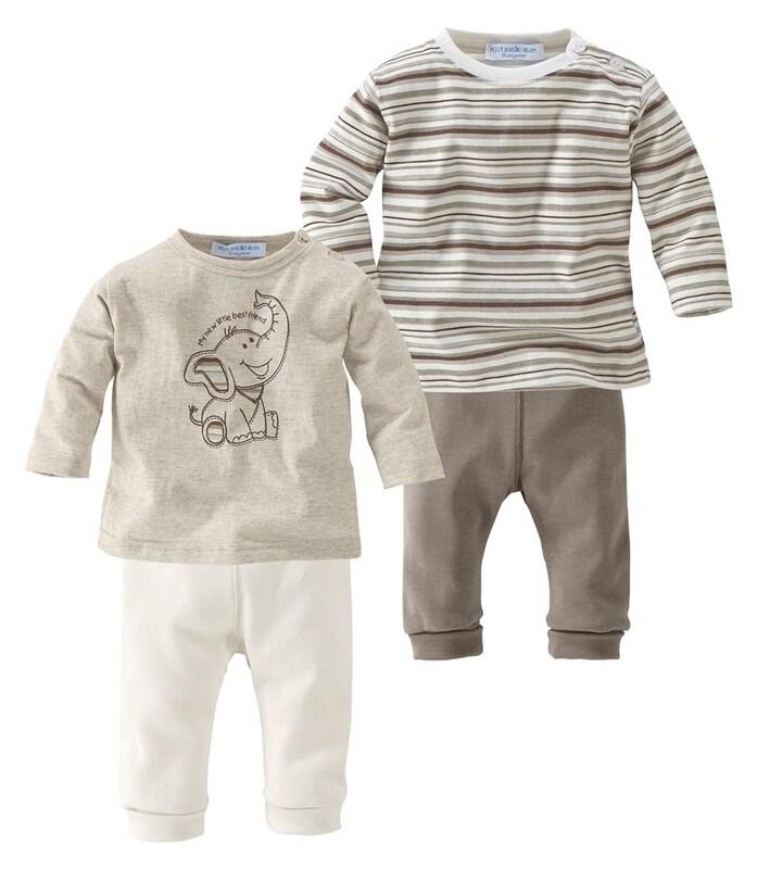 klitzeklein 2 langarmshirts 2 hosen packung 4 tlg f r babys in beige dunkelbeige about you. Black Bedroom Furniture Sets. Home Design Ideas
