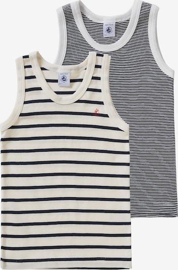 PETIT BATEAU Unterhemden in schwarz / weiß / wollweiß: Frontalansicht