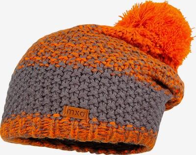 MAXIMO Mütze in graumeliert / dunkelorange: Frontalansicht