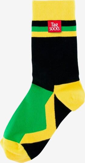 Tag SOCKS Socken in gelb / grün / schwarz, Produktansicht