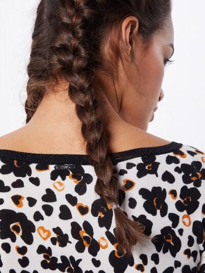 LIU JO JEANS Pullover  'MAGLIA CHIUSA M/L STAMPATA' in schwarz / weiß, Produktansicht