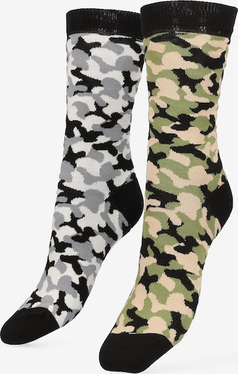Libertad Socke 'Camo' in hellbeige / grau / oliv / schwarz / weiß, Produktansicht
