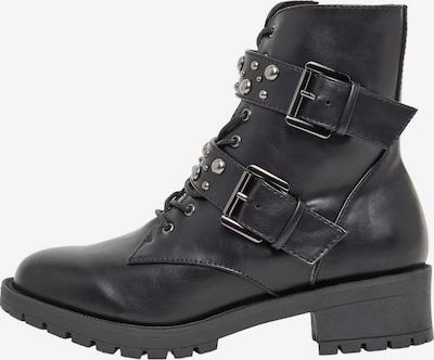 Bianco Doppelriemen Nieten Biker Boots in schwarz, Produktansicht