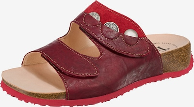 THINK! Pantoletten 'Mizzi' in rot / karminrot, Produktansicht