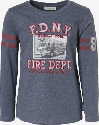 SALT AND PEPPER Langarmshirt 'Feuerwehr' in rauchblau / grau / rot, Produktansicht